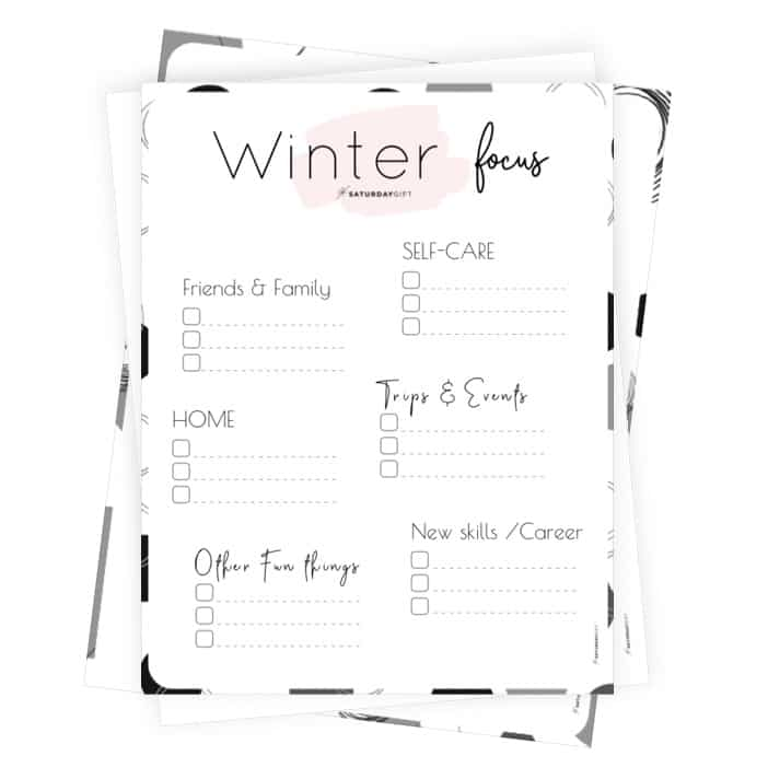 Winter Plans and Goals Worksheet for December, January and February