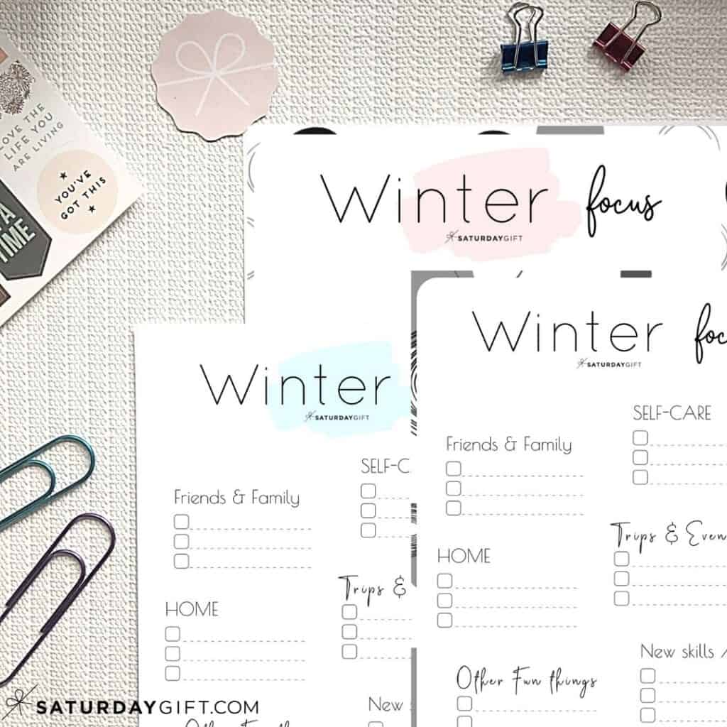 Pink, blue and black&white Winter Plans and Goals Worksheets