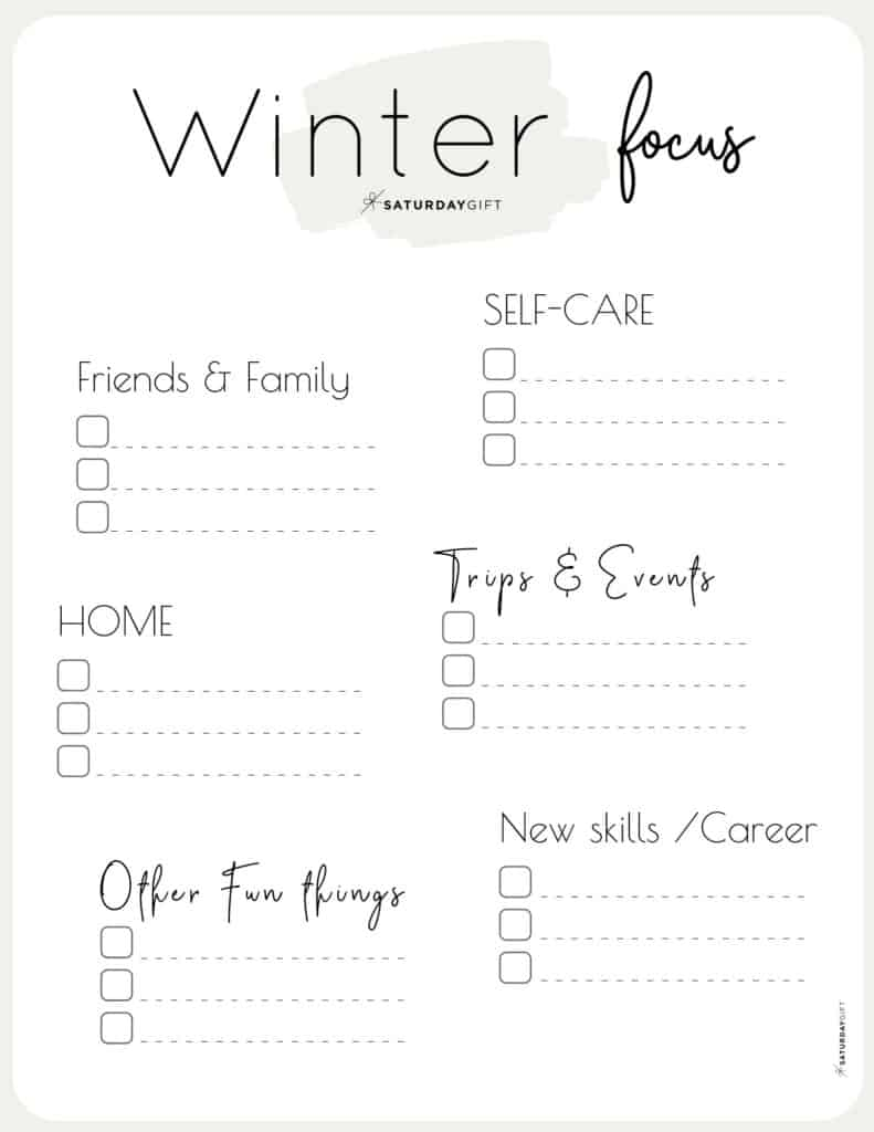 Beige Winter Focus Worksheet for December, January and February