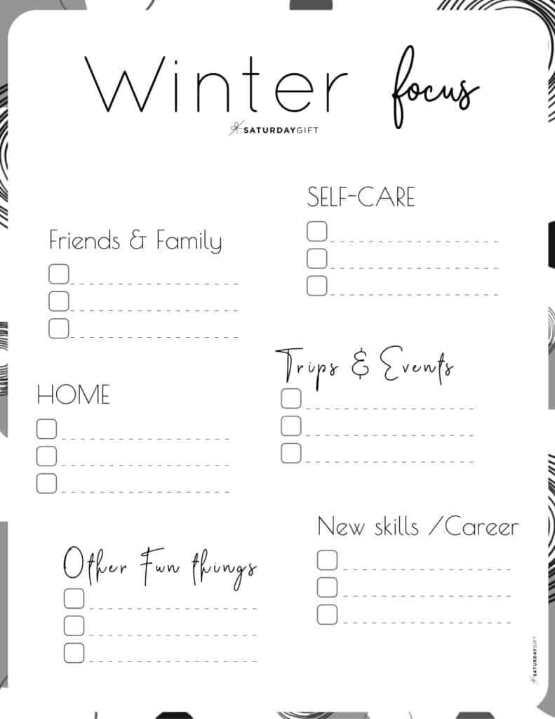 Black & White Winter Focus Worksheet for December, January and February