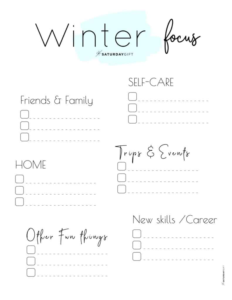 Blue Winter Focus Worksheet for December, January and February