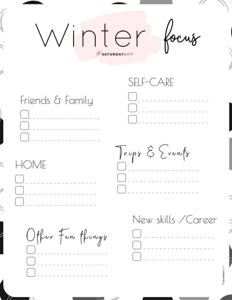 Pink Winter Focus Worksheet for December, January and February