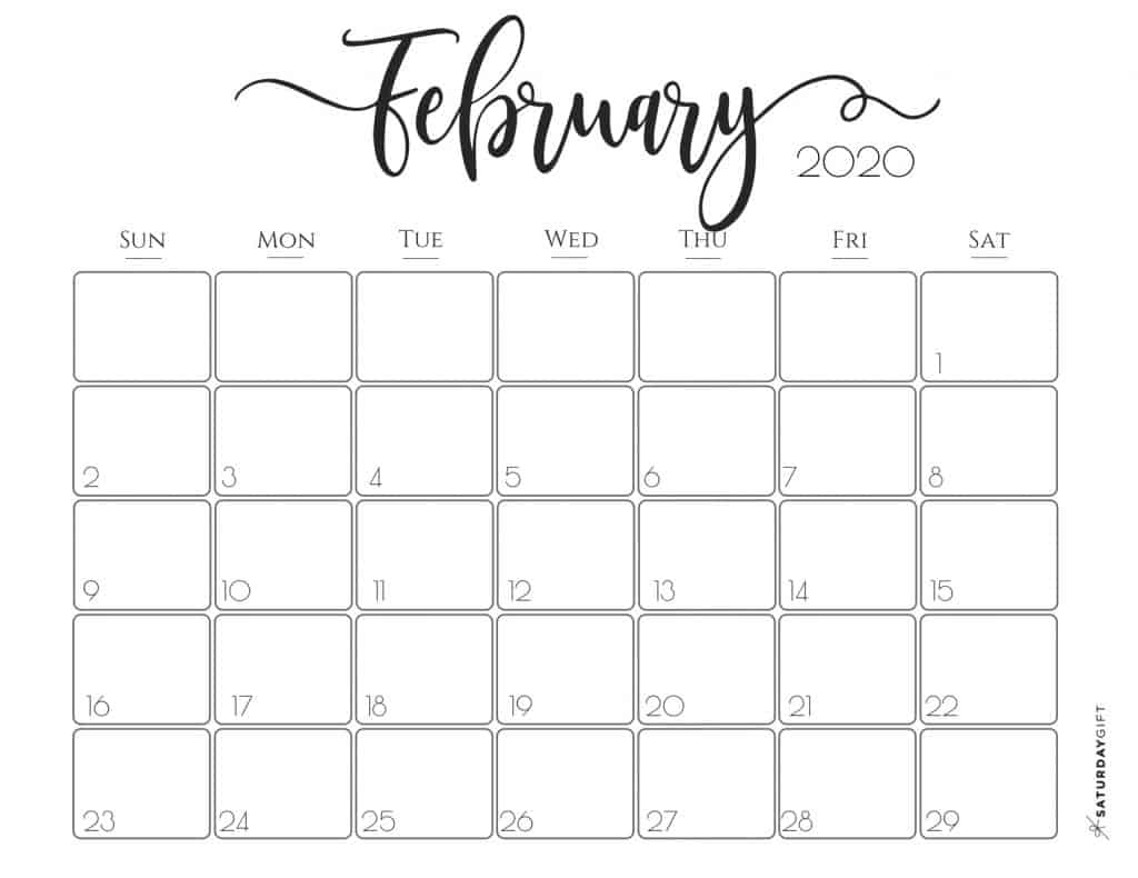 Elegant 2020 Calendar February - free printables | Pretty printable | Planner sheet | Planning & Organizing | 2020 Calendar | Black & white calendar | Minimalistic, pretty & simple | SaturdayGift | Saturday gift #SaturdayGift
