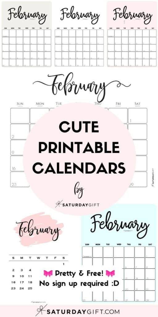 Cute & Free Printable February Monthly Calendars Featured Collage Image | SaturdayGift