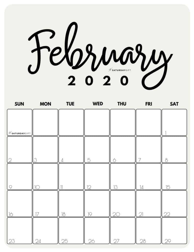 February 2020 Cute printable calendar by month Beige PDF | SaturdayGift