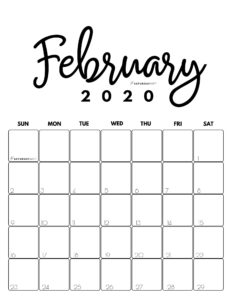 February 2020 Cute Monthly Calendar Black and White PDF | SaturdayGift
