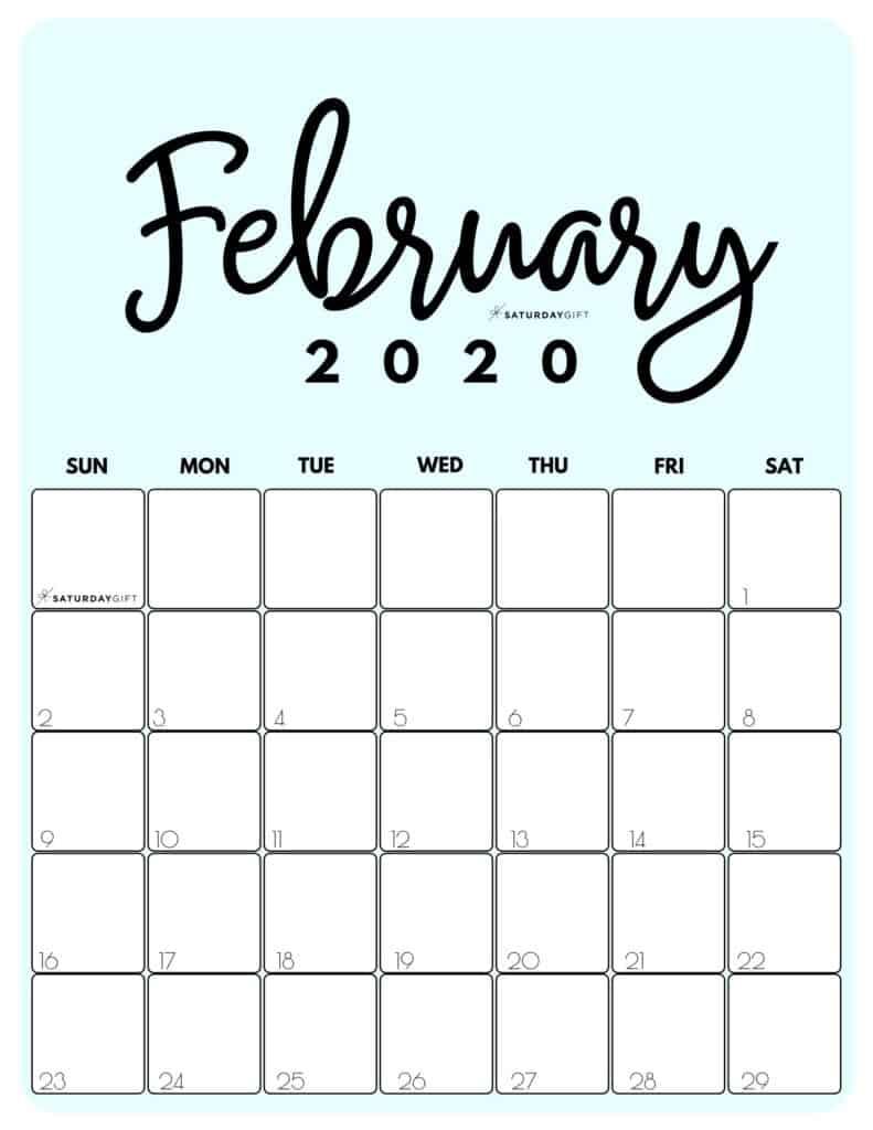 February 2020 Cute Monthly Calendar Blue PDF | SaturdayGift