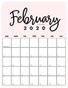 February 2020 Cute Monthly Calendar Pink PDF | SaturdayGift