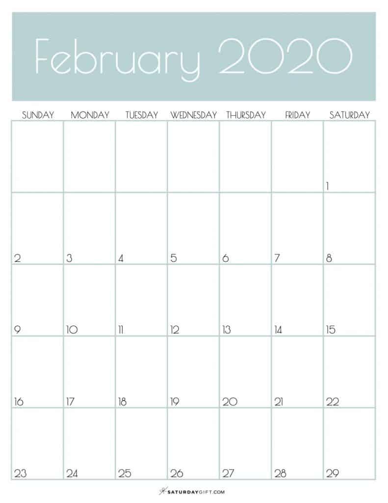 Monthly Calendar February 2020 Jungle Mist | SaturdayGift