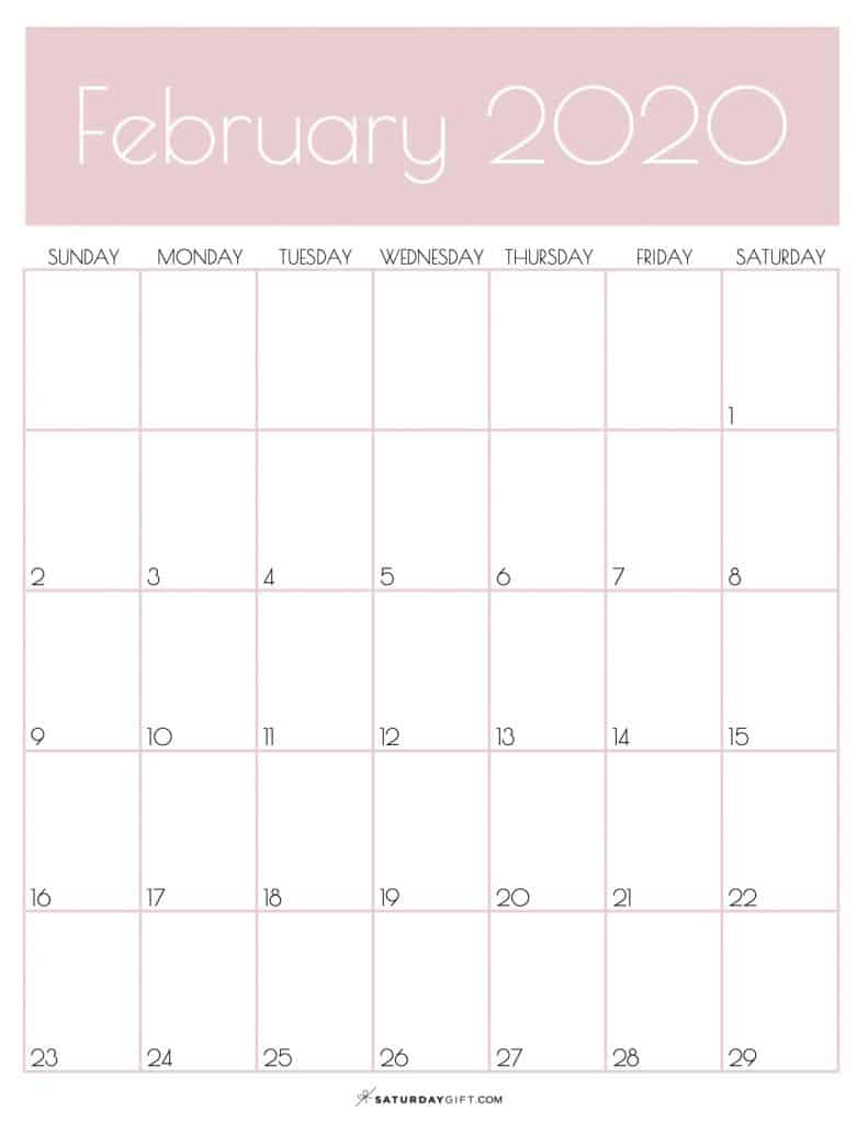 Monthly Calendar February 2020 Rose Gold | SaturdayGift