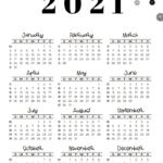2021 Calendar Template - Week numbers 2021 Sunday-starting weeks