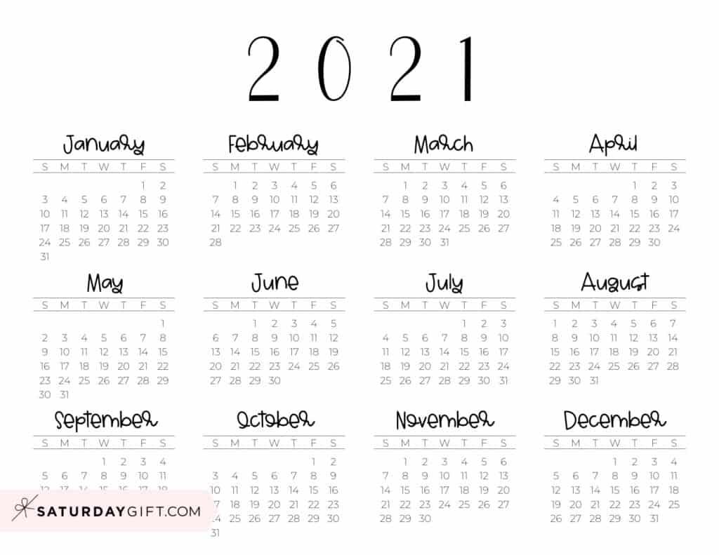 2021 Yearly Calendar free simple minimal 2021 calendar printable - Sunday-start horizontal