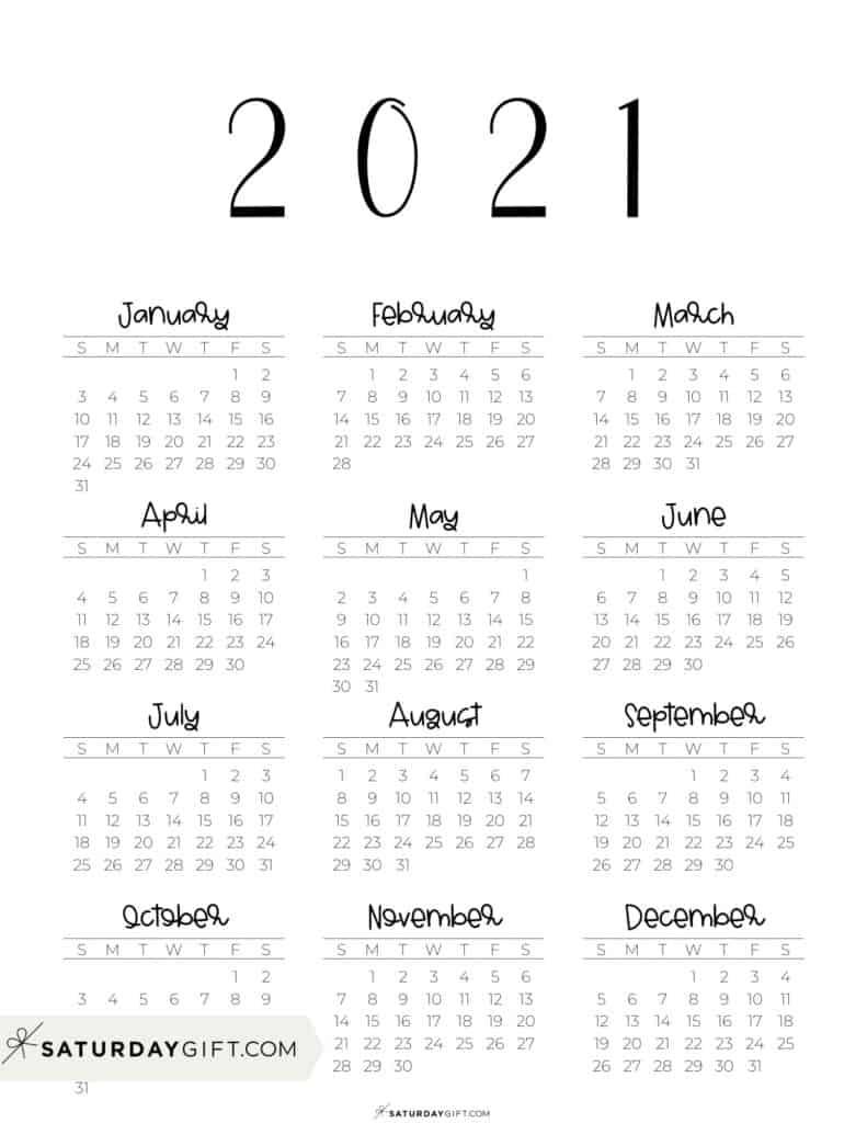 2021 Yearly Calendar free simple minimal 2021 calendar printable - Sunday-start vertical