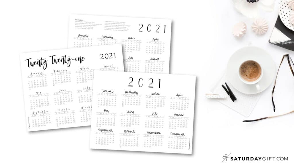 2021 Yearly Calendar printable horizontal templates