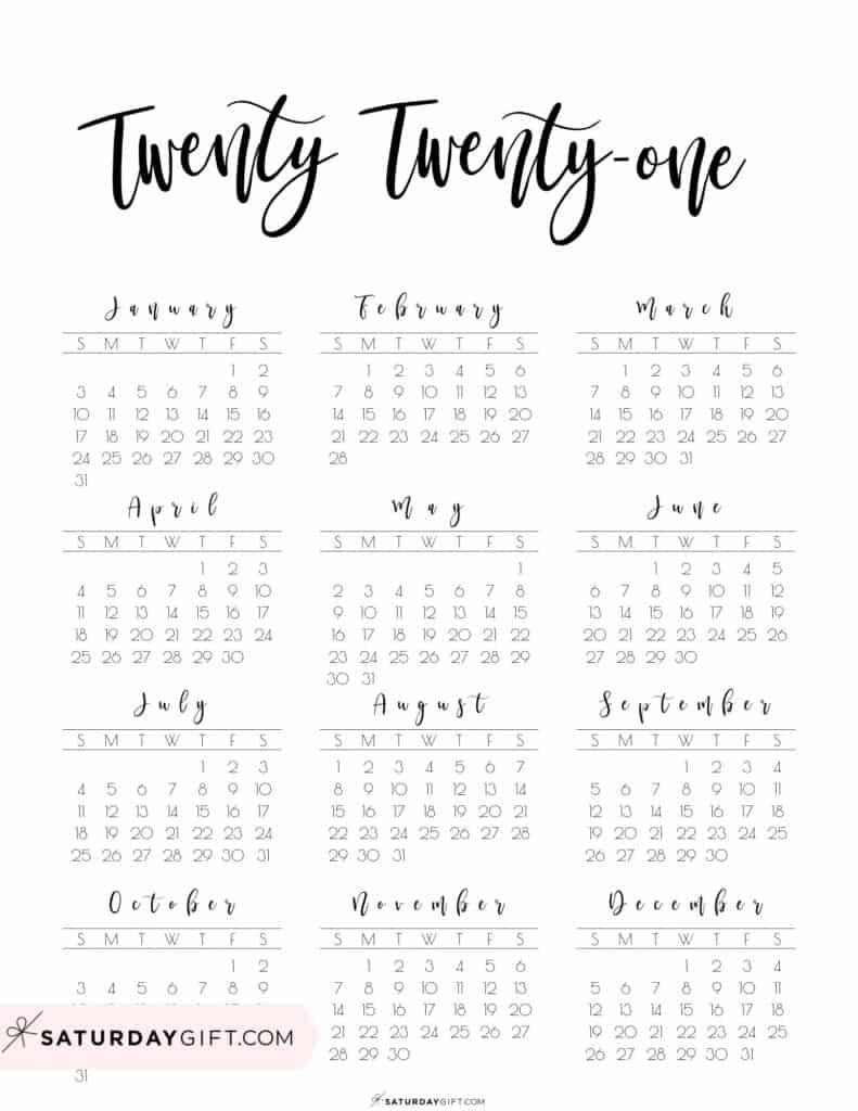 2021 Yearly Calendar printable twenty twenty one - free printable -Sunday start