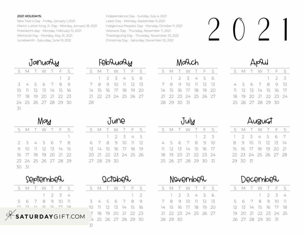2021 Yearly Calendar printable with holidays - free printable - horizontal | SaturdayGift