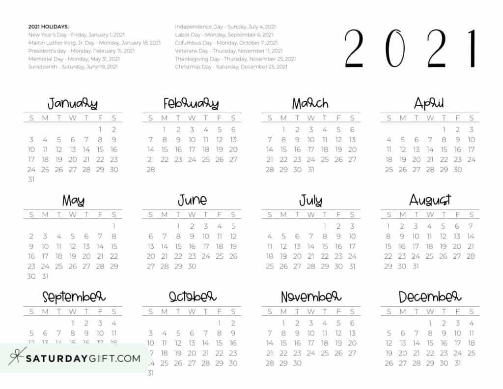 2021 Yearly Calendar printable with holidays - free printable - horizontal