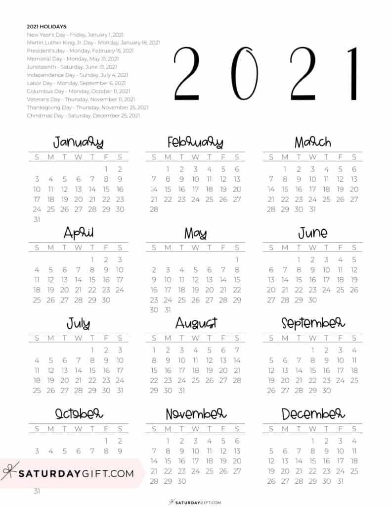 2021 Yearly Calendar printable with holidays - free printable - portrait