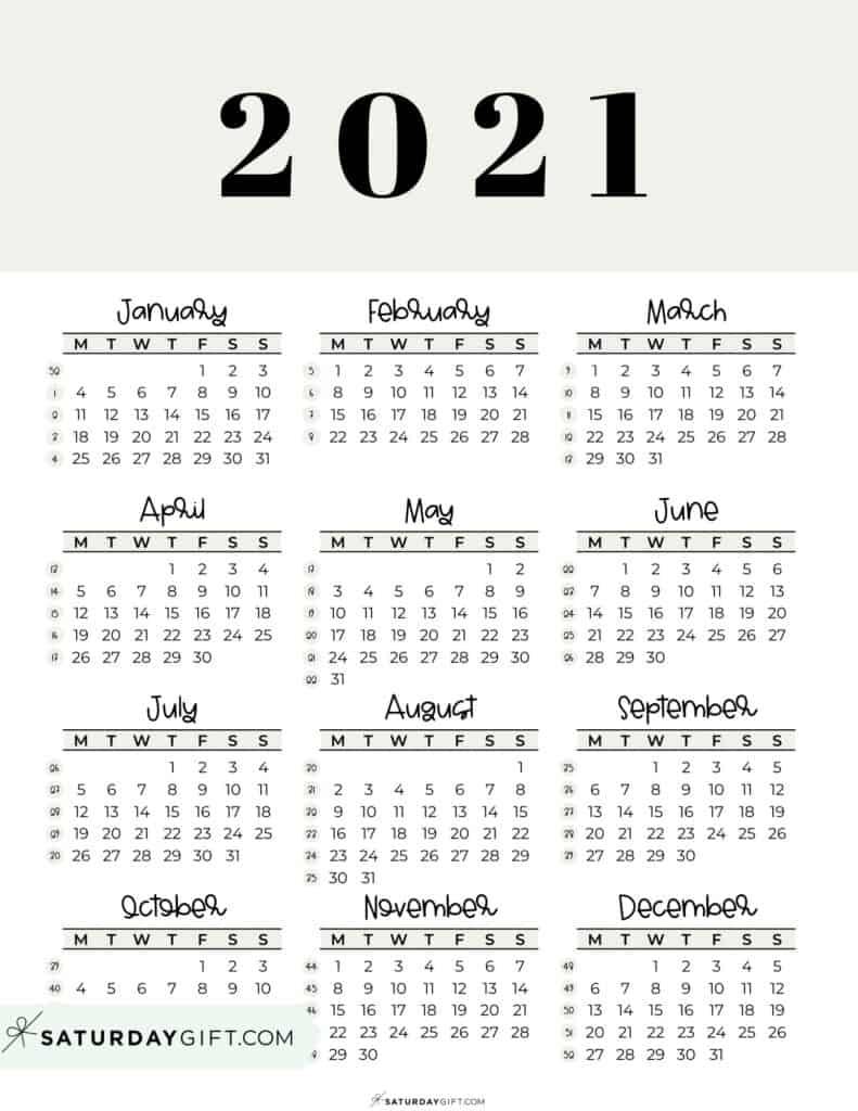 2021 Yearly Calendar printable with week numbers starting Monday - beige free printable