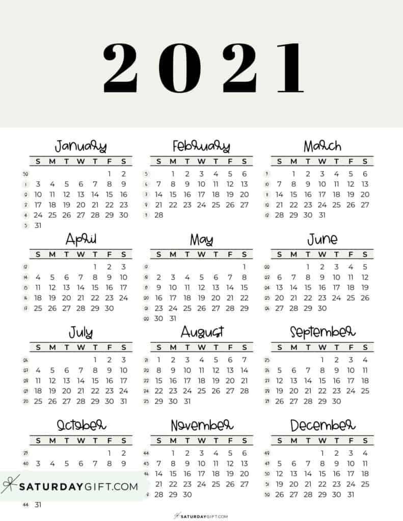 2021 Yearly Calendar printable with week numbers starting Sunday - beige free printable
