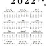 2022 Calendar Template - Week numbers 2022 Sunday-starting weeks