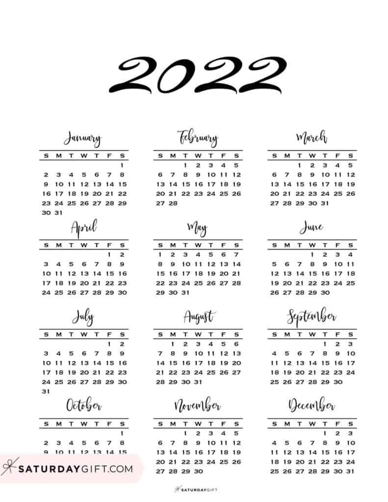 2022 Yearly Calendar Minimal One Page 2022 Calendar printable Sunday Star
