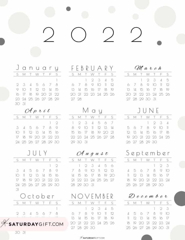 2022 Yearly Calendar - Pretty Pastel Dots beige 2022 Printable calendar - Sunday-start