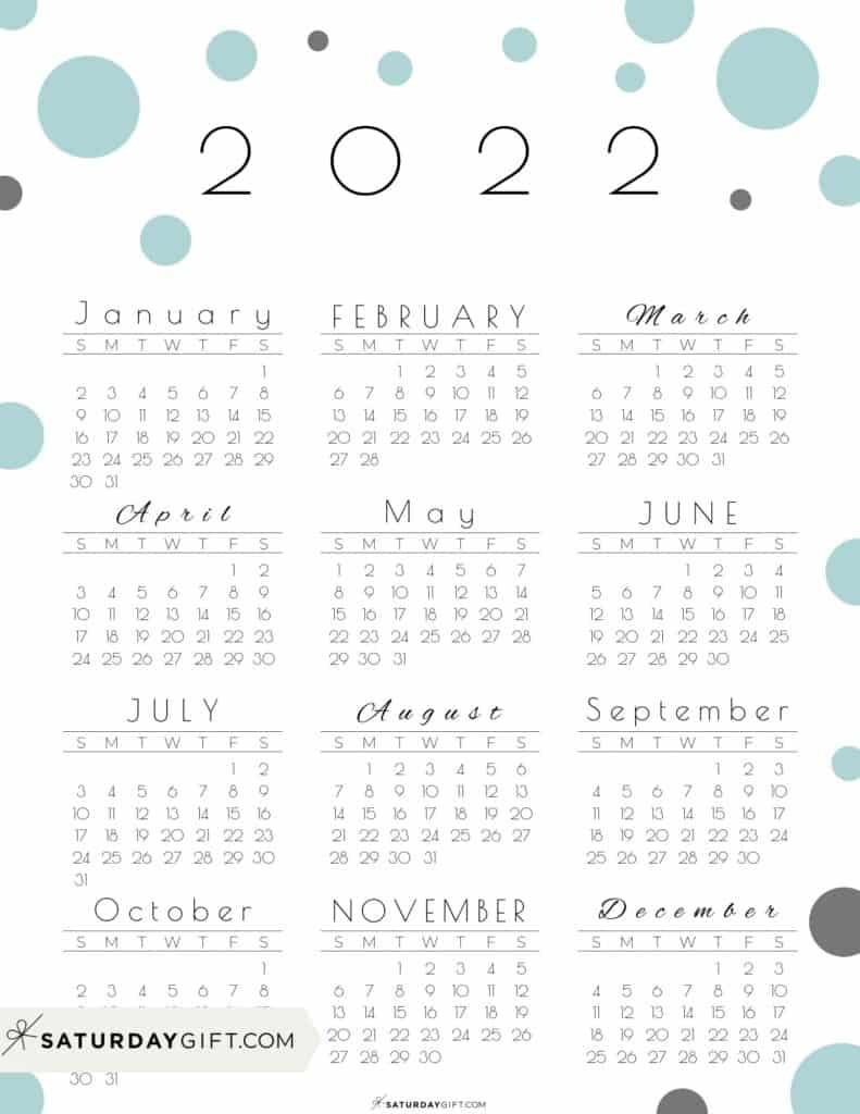 2022 Yearly Calendar - Pretty Pastel Dots green 2022 Printable calendar - Sunday-start