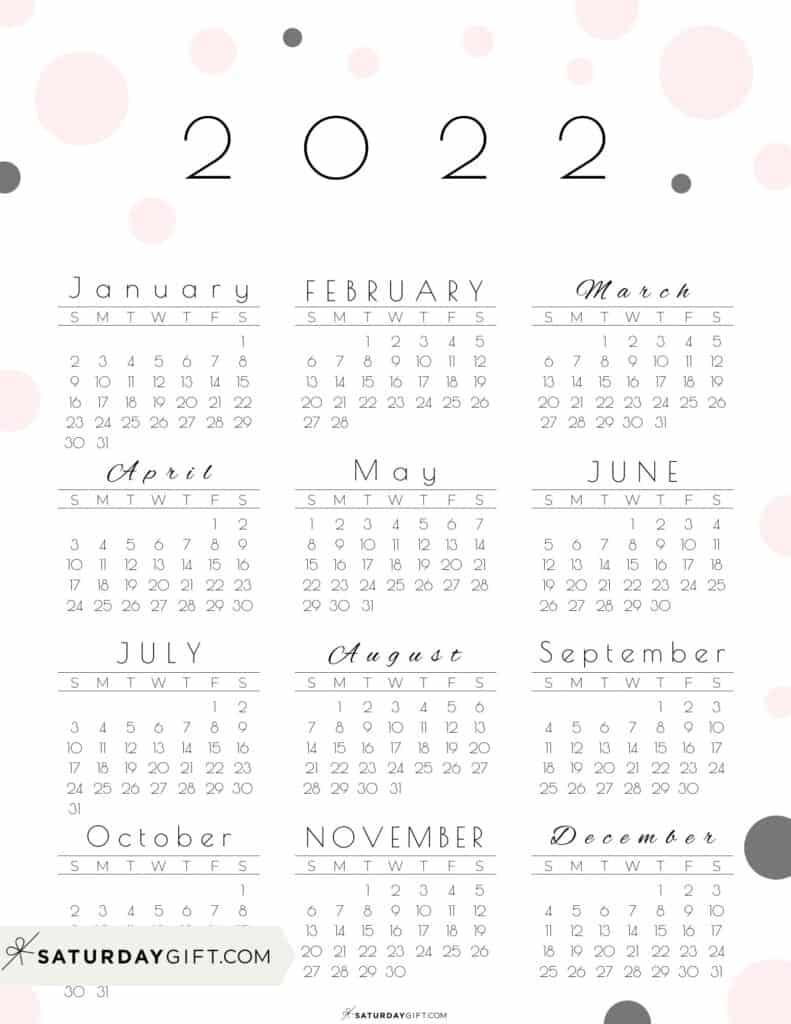 2022 Yearly Calendar - Pretty Pastel Dots pink 2022 Printable calendar - Sunday-start