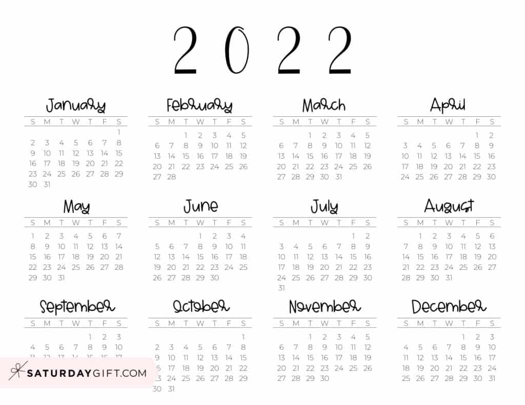 2022 Yearly Calendar free simple minimal 2022 calendar printable - Sunday-start horizontal