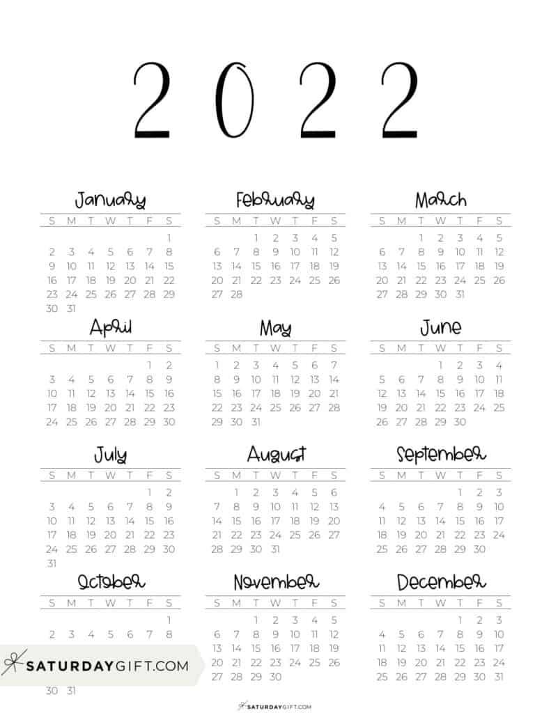 2022 Yearly Calendar free simple minimal 2022 calendar printable - Sunday-start vertical