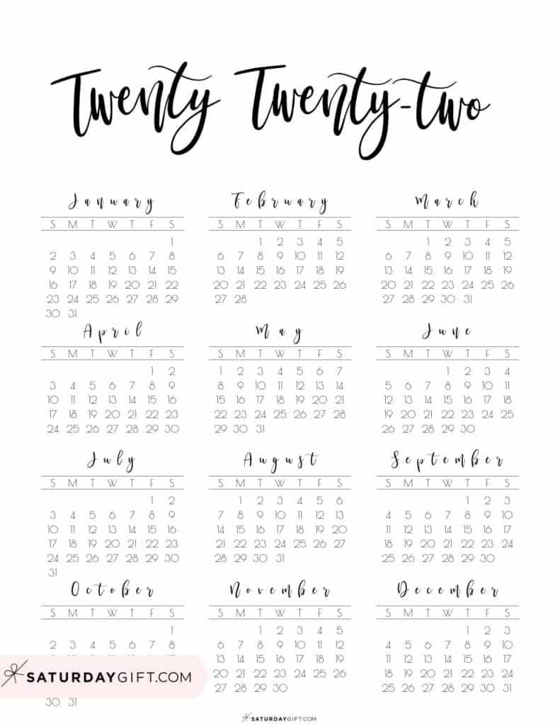 2022 Yearly Calendar printable twenty twenty two - free printable - Sunday start