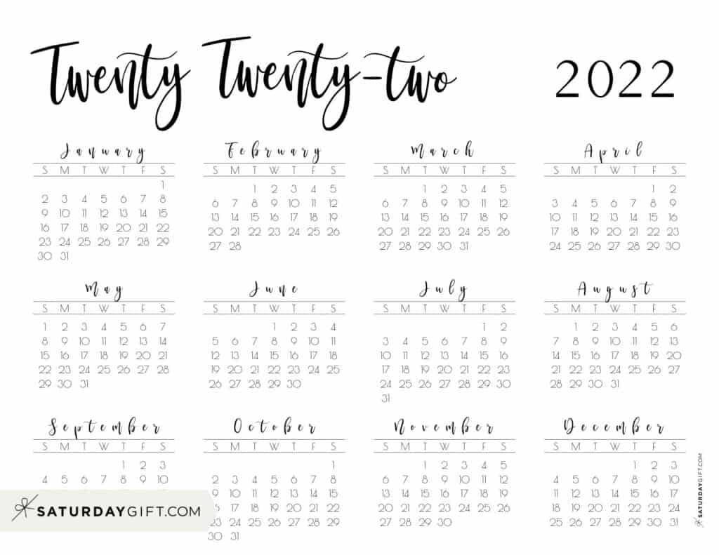 2022 Yearly Calendar printable twenty twenty two - free printable landscape - Sunday start
