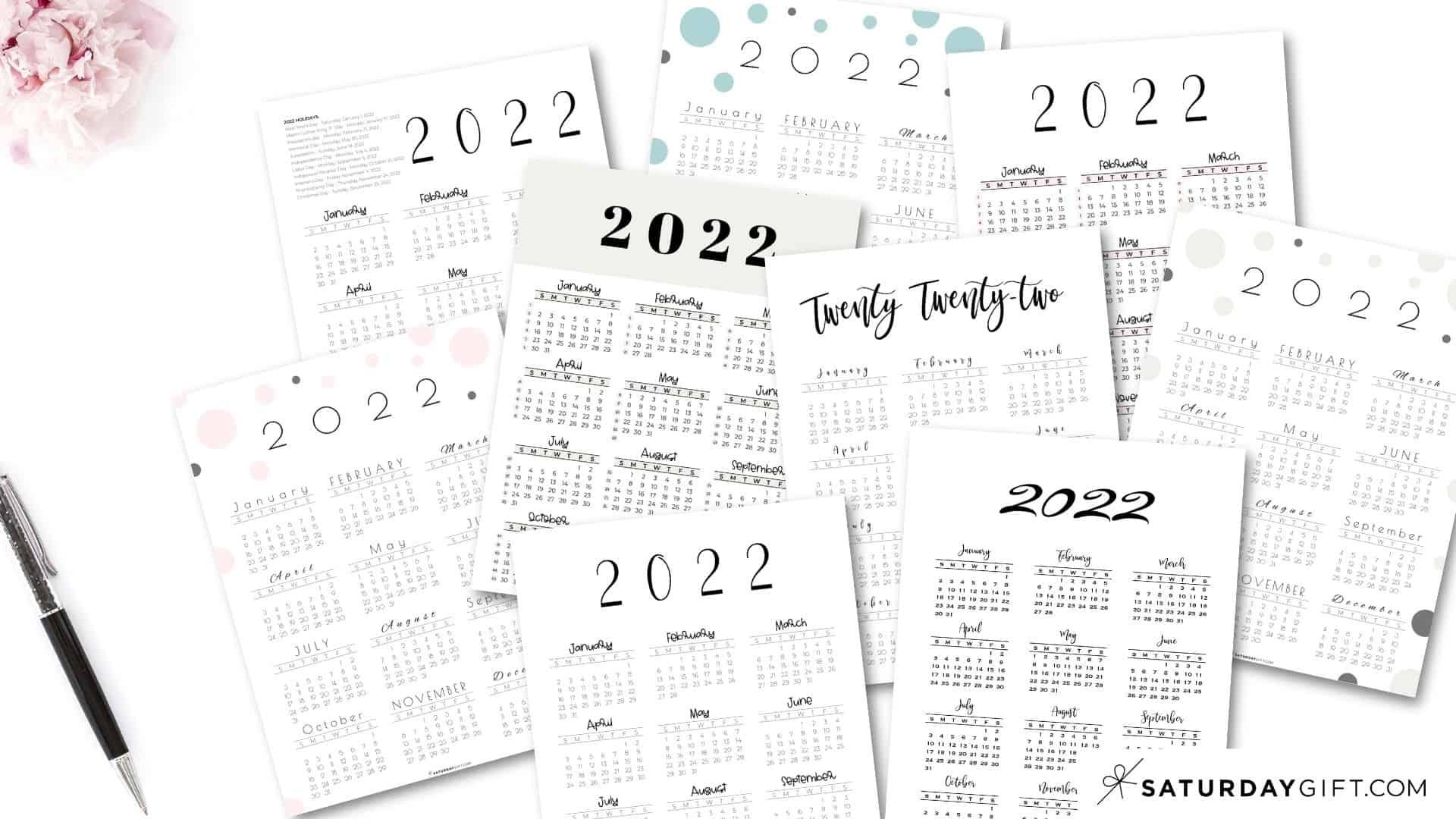 2022 Yearly Calendar printable vertical templates