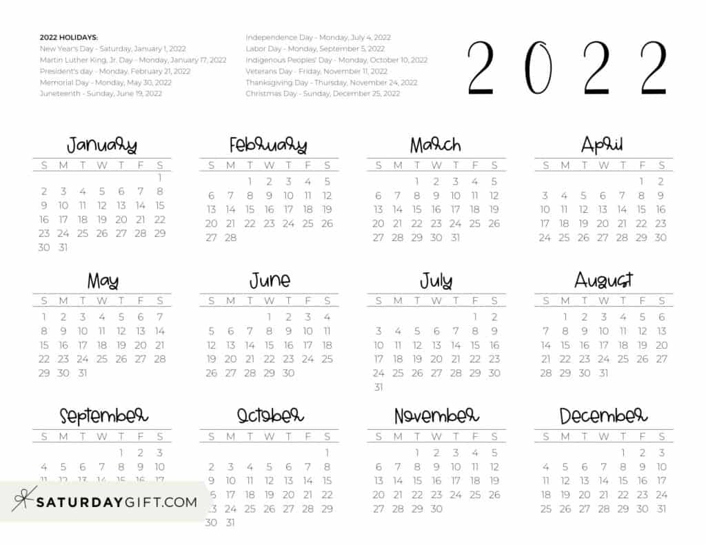 2022 Yearly Calendar printable with holidays - free printable - horizontal