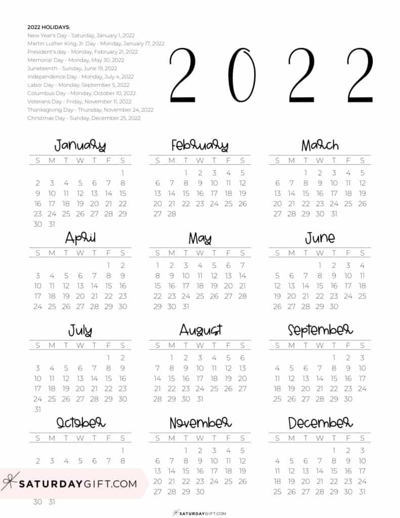2022 Yearly Calendar printable with holidays - free printable - portrait