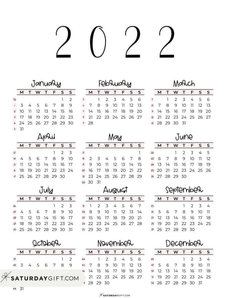 2022 Yearly Calendar printable with week numbers starting Monday - pink free printable