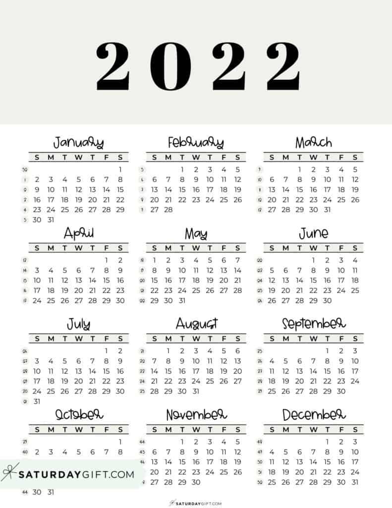 2022 Yearly Calendar printable with week numbers starting Sunday - beige free printable