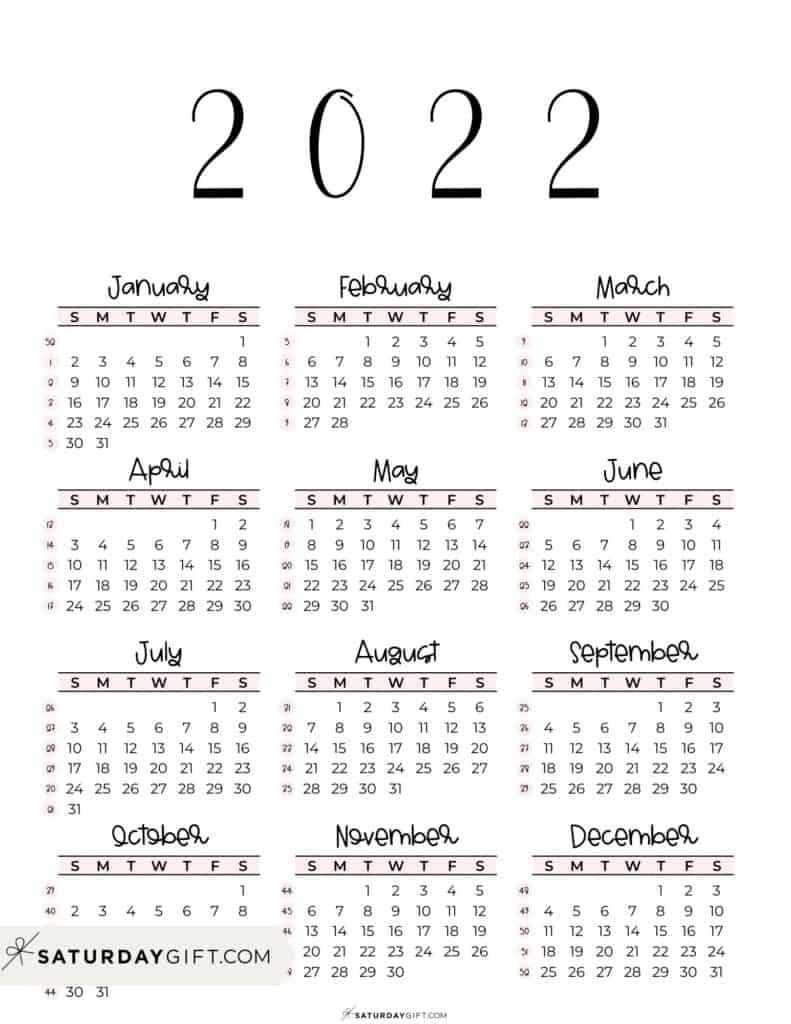 2022 Yearly Calendar printable with week numbers starting Sunday - pink free printable