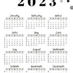 2023 Calendar Template - Week numbers 2023 Sunday-starting weeks