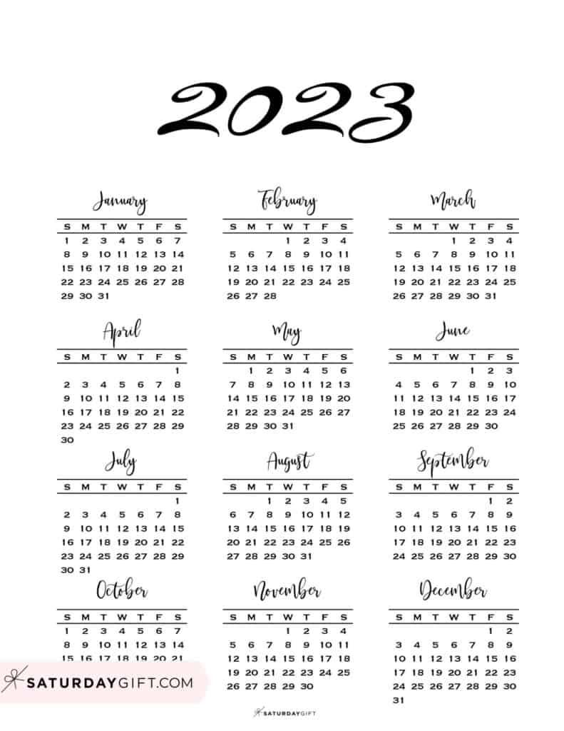 2023 Yearly Calendar Minimal One Page 2023 Calendar printable Sunday Start