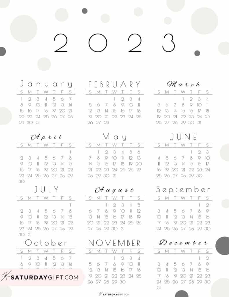 2023 Yearly Calendar - Pretty Pastel Dots beige 2023 Printable calendar - Sunday-start