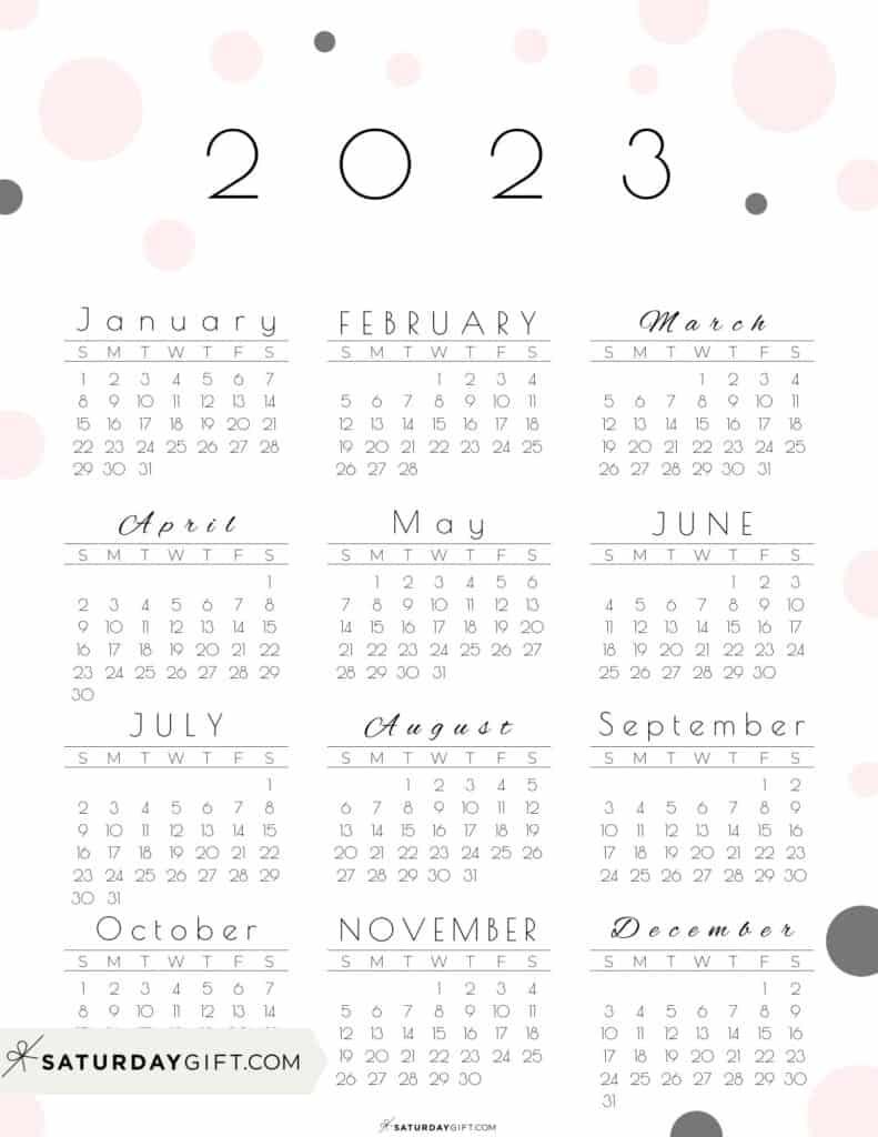 2023 Yearly Calendar - Pretty Pastel Dots pink 2023 Printable calendar - Sunday-start