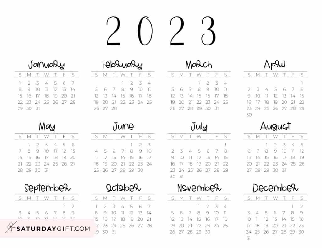 2023 Yearly Calendar free simple minimal 2023 calendar printable - Sunday-start horizontal