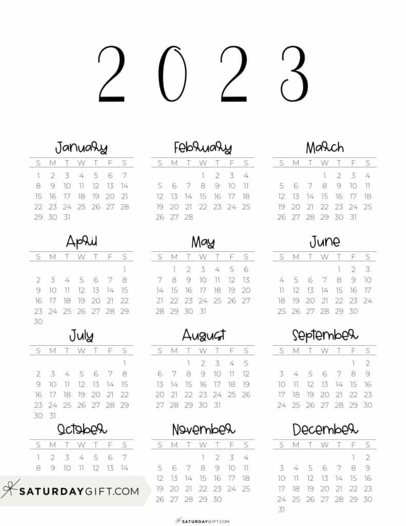 2023 Yearly Calendar free simple minimal 2023 calendar printable - Sunday-start vertical