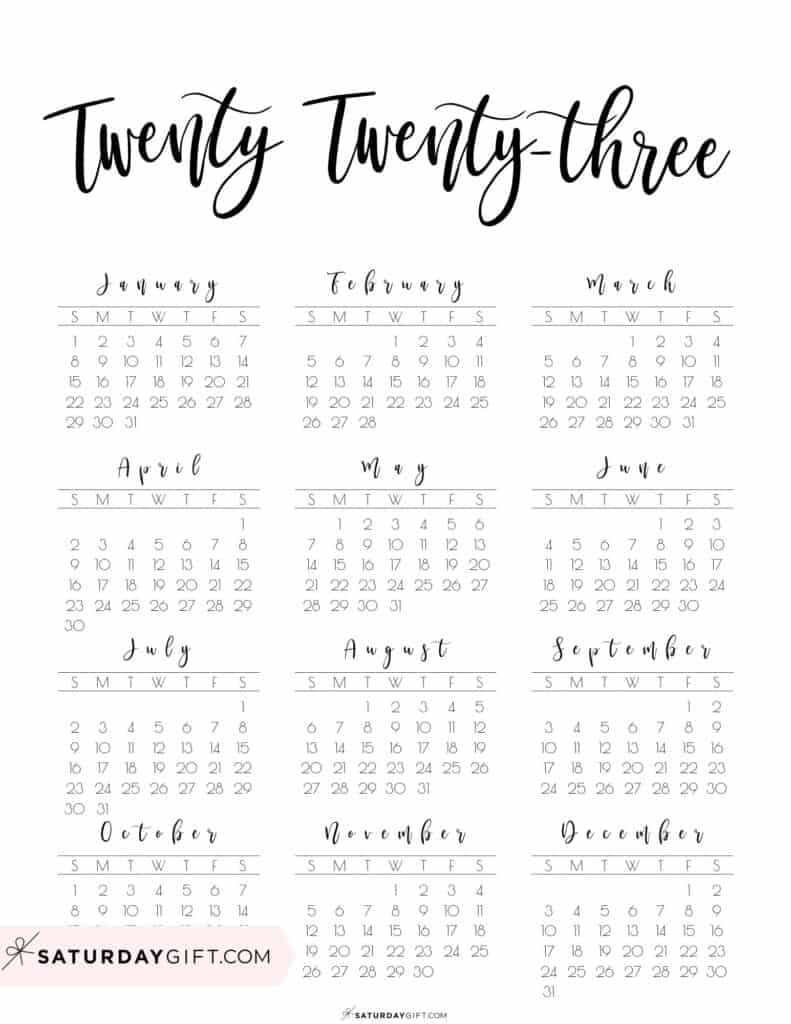 2023 Yearly Calendar printable twenty twenty three - free printable - Sunday start