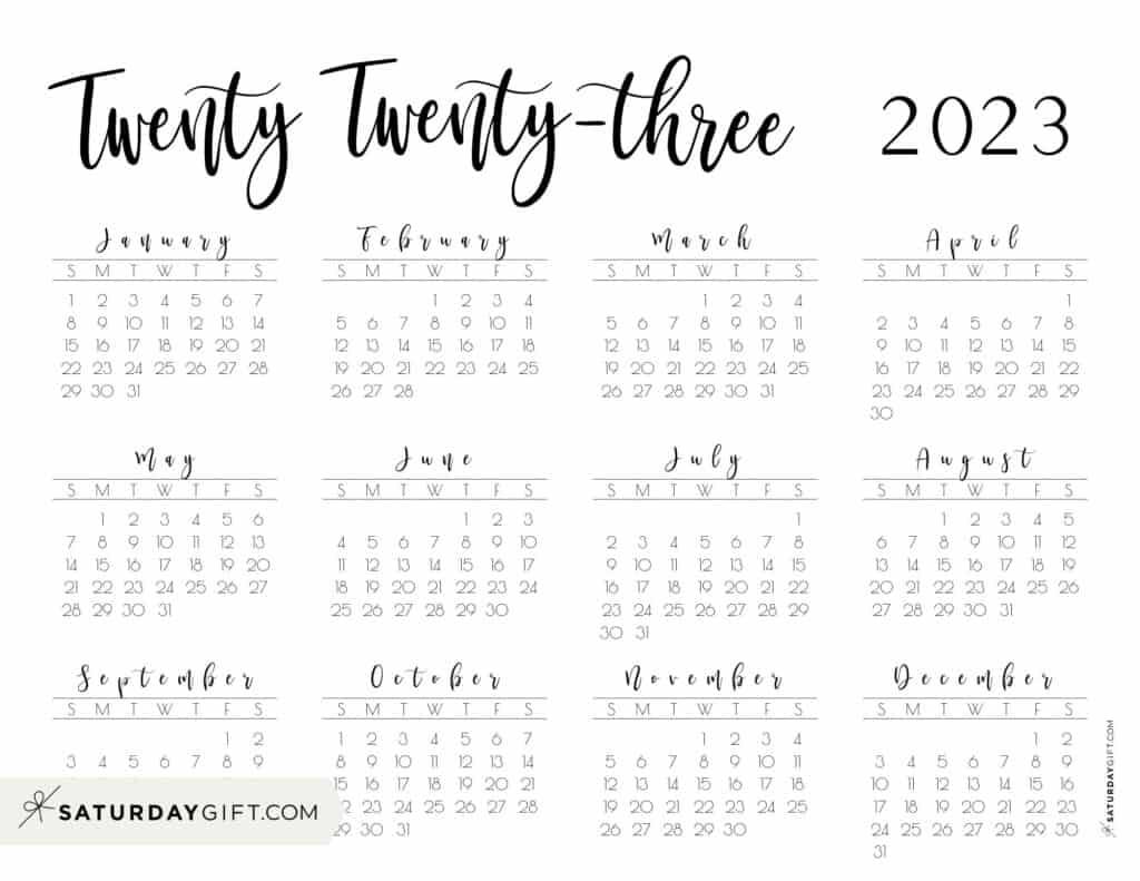 2023 Yearly Calendar printable twenty twenty three - free printable landscape - Sunday start