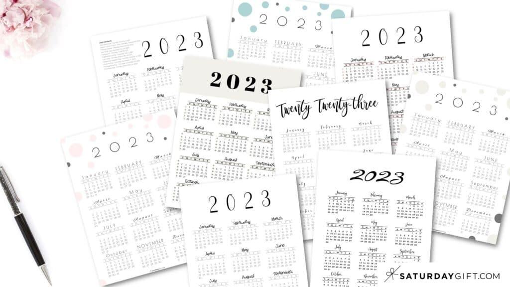 2023 Yearly Calendar printable vertical templates