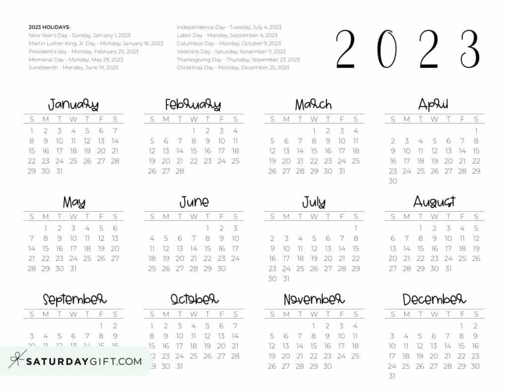 2023 Yearly Calendar printable with holidays - free printable - horizontal