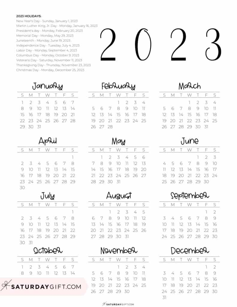 2023 Yearly Calendar printable with holidays - free printable - portrait